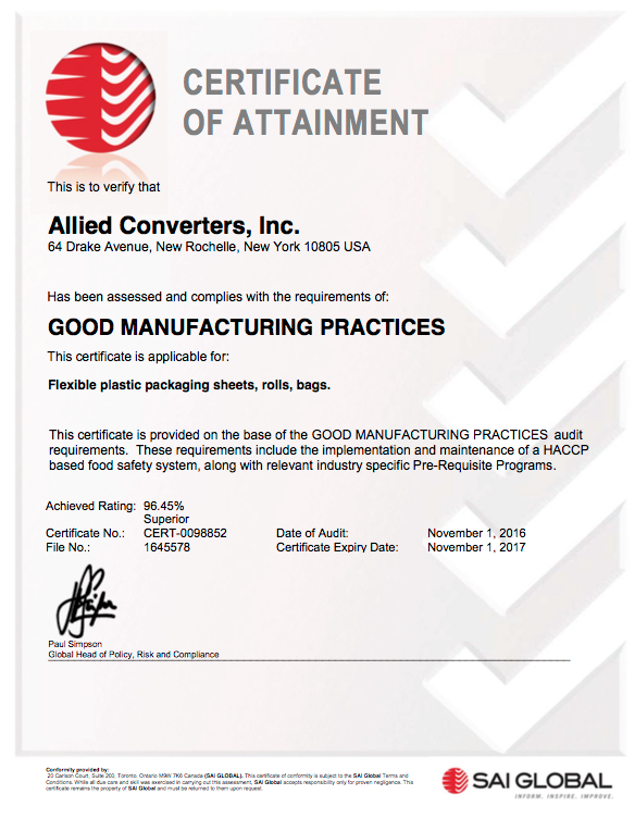 Certificate of Conformity Allied Converters, Inc.